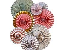 Mint Pink Gold Paper Fans, Party Rosettes, Paper Fans, Pinwheel Fans, Paper Pinwheels, Party Pinwheels, Photo Backdrop, Hanging Party Decor