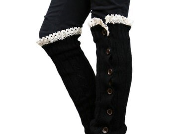Girls Leg Warmers Black by Modern Boho