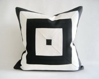 Pair Custom made Black and white color block pillow 20 x 20 inches decorator cotton canvas