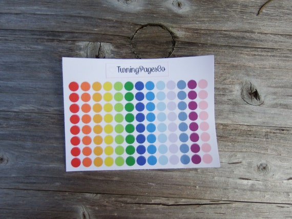 Small Rainbow Circle Planner Stickers