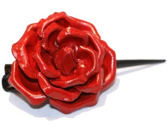 Hairclip Leather Rose