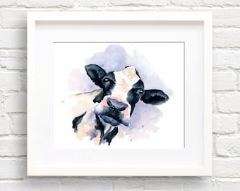 Cow Art Print - Wall Decor - Watercolor Painting