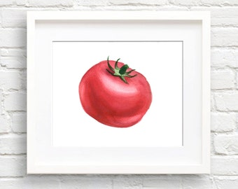 Tomato - Art Print - Kitchen Art - Wall Decor - Watercolor Painting