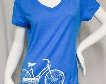Bicycle v-neck tshirt screen printed