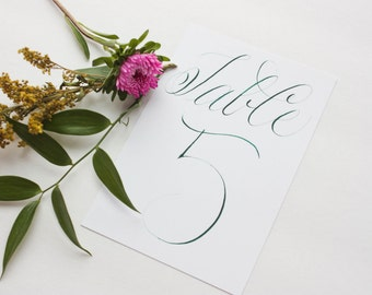 Calligraphy Table Numbers 1-10