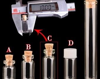 10PCS Diameter 10MM Mini Glass Bottles Tube,Various Volume(0.5ML,0.8ML,1.0ML,4.0ML)With Cork eye hook,Plastic Screw caps,Wishing DIY bottle