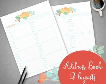 Printable Address Book, planner pages, Roses planner, instant download, printable address pages, organizer pages, A4 and US Letter size
