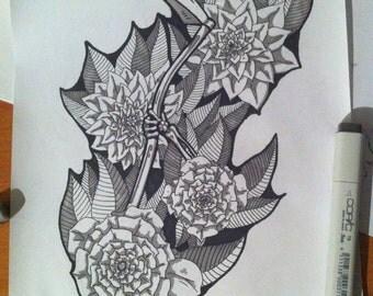 Scythe and Flowers