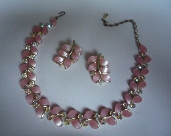 Fun Fabulous Vintage Gold Tone Pink Lucite Aurora Borealis Rhinestone Necklace and Clip Earrings