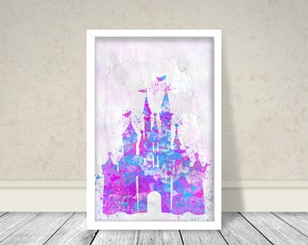 Disney Castle Watercolor, Instant Download, Art for Kids