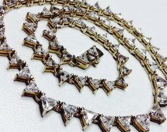 Vintage 925 Silver gold plate triangle cut CZ Tennis chain link Necklace 18 inch