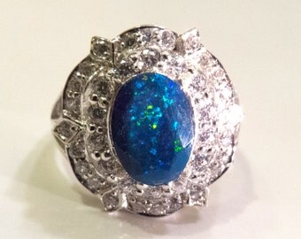 Solid SS 925 Amazing Black Opal and Diamond Ring 4.98 grams,size 6.75, VIVID