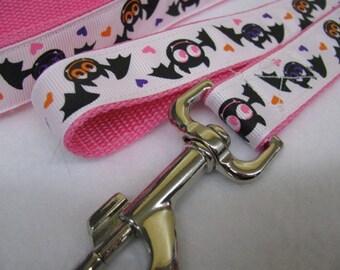 Pink Love Bats Dog Leash
