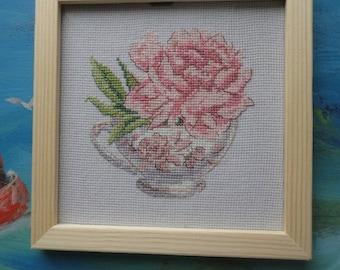 Cross-stitch. Peony in a tea cup)
