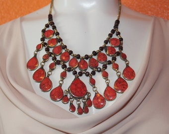 Ethnic / South Asian Chunky, Bold Statement Necklace - Pink