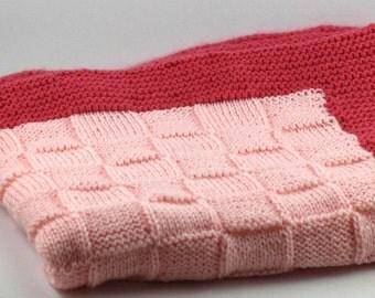 Pink Basket Weave Baby Blanket