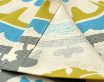 Cloth placemats, blue gray and mustard colors, holiday table linen