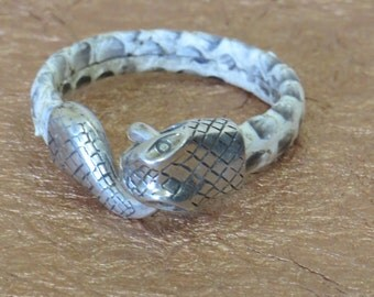 Snakeskin braclet wit snakehead clasp