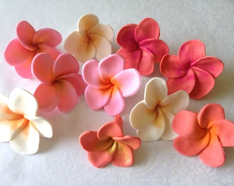12 Fondant Flower Hawaiian Plumeria Fondant Plumeria Gumpaste Plumeria Fondant Hawaiian Flowers Colorful Fondant Flowers