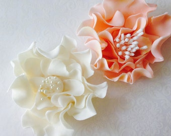 4 Fondant Flowers with Stamen 4 Gumpaste Flowers with Stamen Gumpaste Peonies Fondant Peonies Sugar Flowers