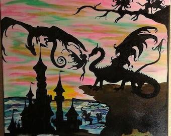 "Original Painting ""Dragon Island"""
