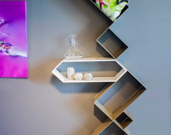 Wine Collection OriGademi shelf: Metal and Corian Iron Steel and Corian.