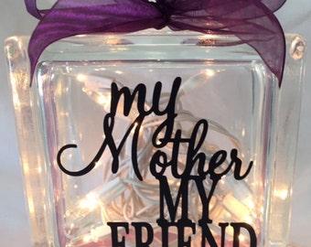 My Mother My Friend Glass Block Light