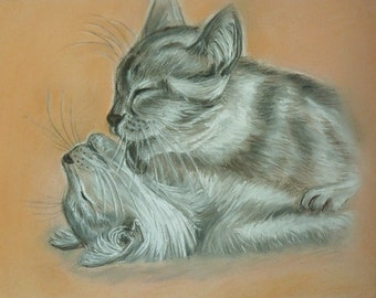 Original painting Pastel drawing Home decor Gift cat decor Cat love Cats couple Gift to spouses Pastel cats Pastel love Gift wife