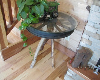 Rustic Table with Tractor Wheel