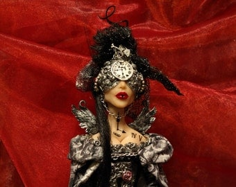 """Steampunk doll ooak  art doll sculpture """"Queen Time"""""""