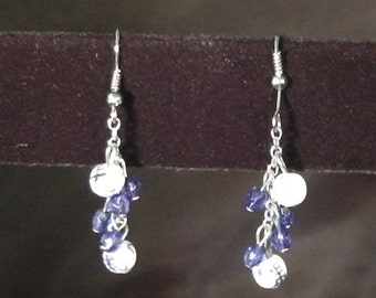 Oriental White / Blue Glass Earrings