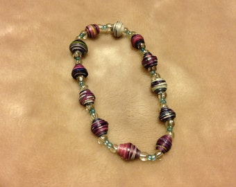 Upcycled Paper Bead Bracelet