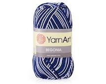 Mercerized cotton yarn BEGONIA Melange Set of 5 skeins 100% mercerized cotton by YARNART / Yarn knitting crochet  50g 169m Summer soft yarn