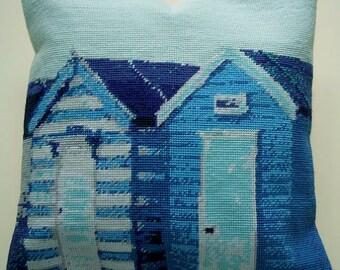 Beach Huts tapestry kit / needlepoint kit