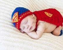 Handmade, crochet superman hat and matching cape