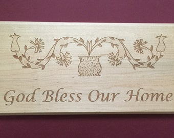 God Bless Our Home - Laser Engraved Wood Sign