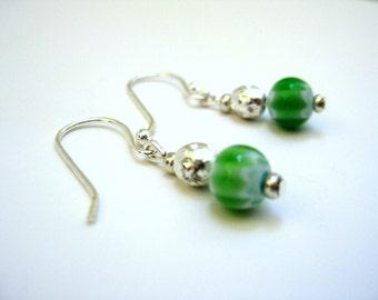 Handmade Silver/Lime Green Bead Earrings