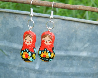Handmade earrings,matryoshka,babushka earrings , handmade earrings