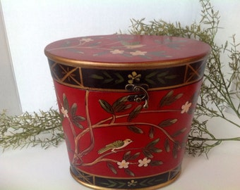 Hand Painted Wooden Box Folk Art attached Lid with Latch Large