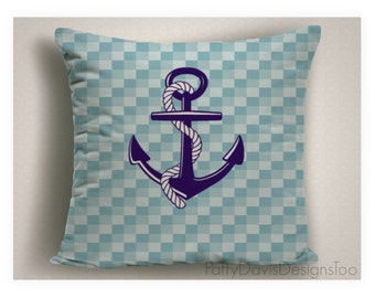 coastal pillow with anchor yacht pillows nautical decor beach decor blue beach