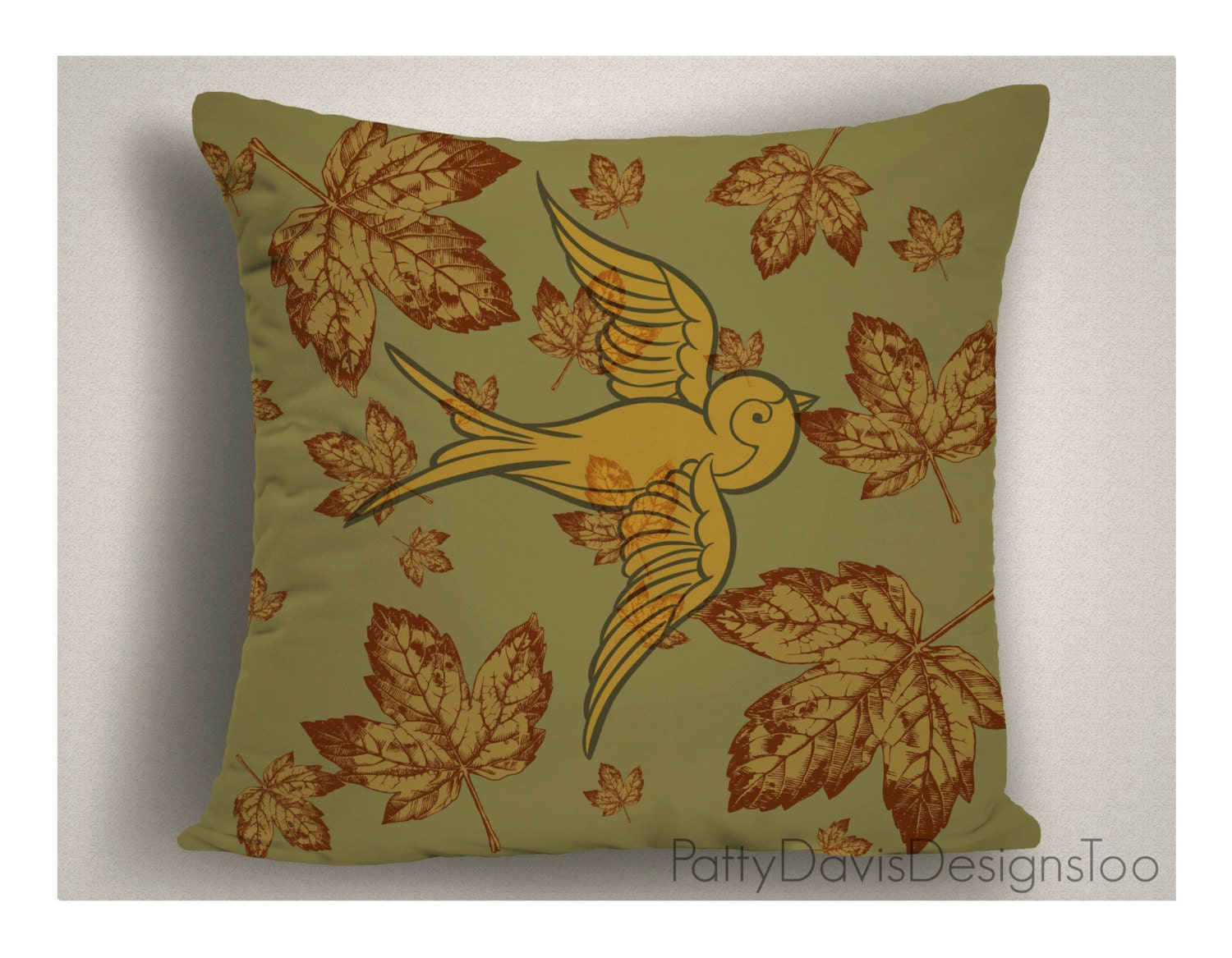 Decorative Throw Pillow, Two Sided, Washable, Green and Gold, Flourish, Birds, Leaves