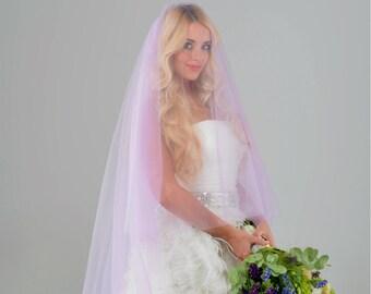 purple veil,blusher veil,  colorful veil, bridal veil, unique wedding veil, two tier veil, chapel veil, cathedral veil, STYLE 042 BETTY