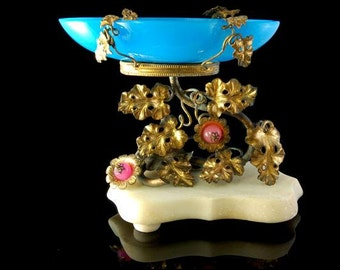 Antique French Blue Pink Opaline Palais Royal Ormolu Marble Dish