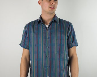 Blue Striped Patterned Short Sleeve Shirt