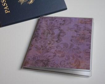 US Passport Cover, Lavender Damask, Passport  Sleeve, Case, Holder