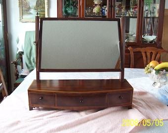 Georgian Mahogany Bowfront Dresser Mirror