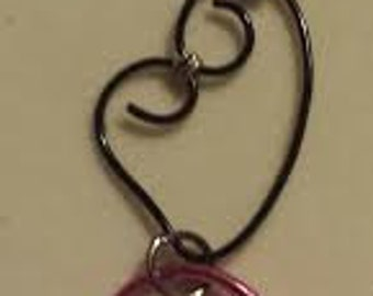 Pink and Black Heart Pendant