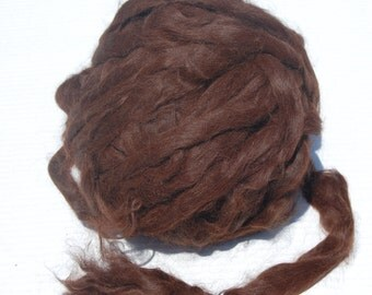 Suri Alpaca roving, dark brown, 4 oz