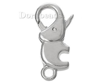 "20 Lobster Clasp Elephant Silver Tone 23mm x 12mm ( 7/8"" x 4/8""), 20 PCs   Worldwide FREE SHIPPING (B45598)"