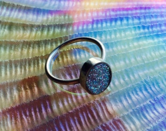 Sterling Silver Drusy Ring